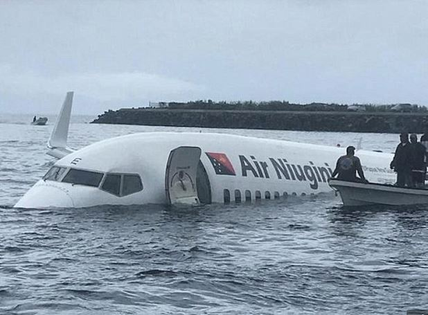 Plane Overshoots A Runway And Crash Lands In The Ocean