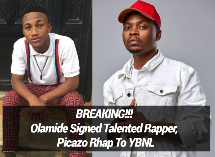 BREAKING!!! Olamide Signed Talented Rapper, Picazo Rhap To YBNL